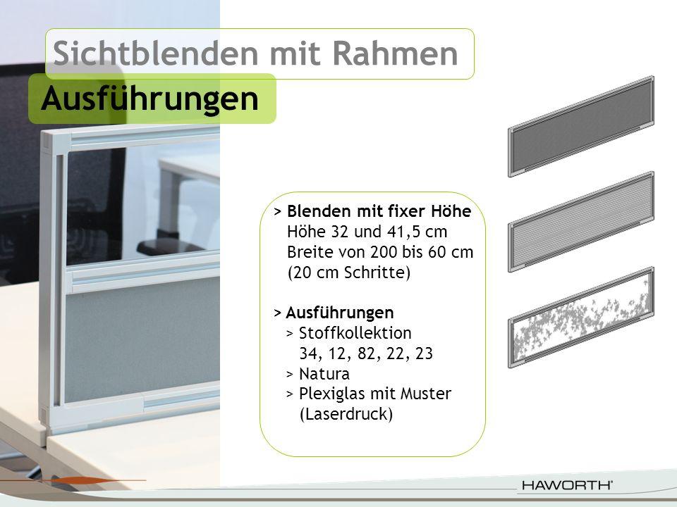 Sichtblenden mit Rahmen Ausführungen > Blenden mit fixer Höhe Höhe 32 und 41,5 cm Breite von 200 bis 60 cm (20 cm Schritte) >Ausführungen >Stoffkollek