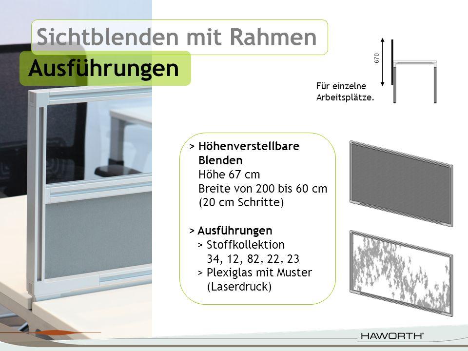 Sichtblenden mit Rahmen Ausführungen > Höhenverstellbare Blenden Höhe 67 cm Breite von 200 bis 60 cm (20 cm Schritte) >Ausführungen >Stoffkollektion 3