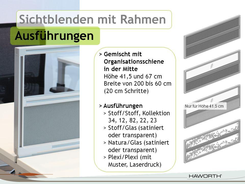 Sichtblenden mit Rahmen Ausführungen > Gemischt mit Organisationsschiene in der Mitte Höhe 41,5 und 67 cm Breite von 200 bis 60 cm (20 cm Schritte) >A