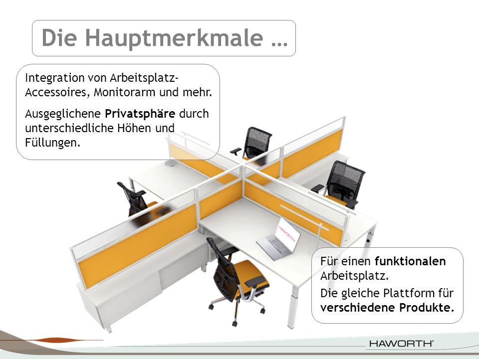 Für einen funktionalen Arbeitsplatz. Die gleiche Plattform für verschiedene Produkte. Integration von Arbeitsplatz- Accessoires, Monitorarm und mehr.