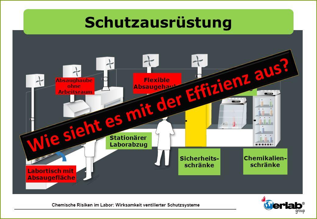 Chemische Risiken im Labor: Wirksamkeit ventilierter Schutzsysteme Absaughaube ohne Arbeitsraum Flexible Absaugehaube Chemikalien- schränke Stationäre