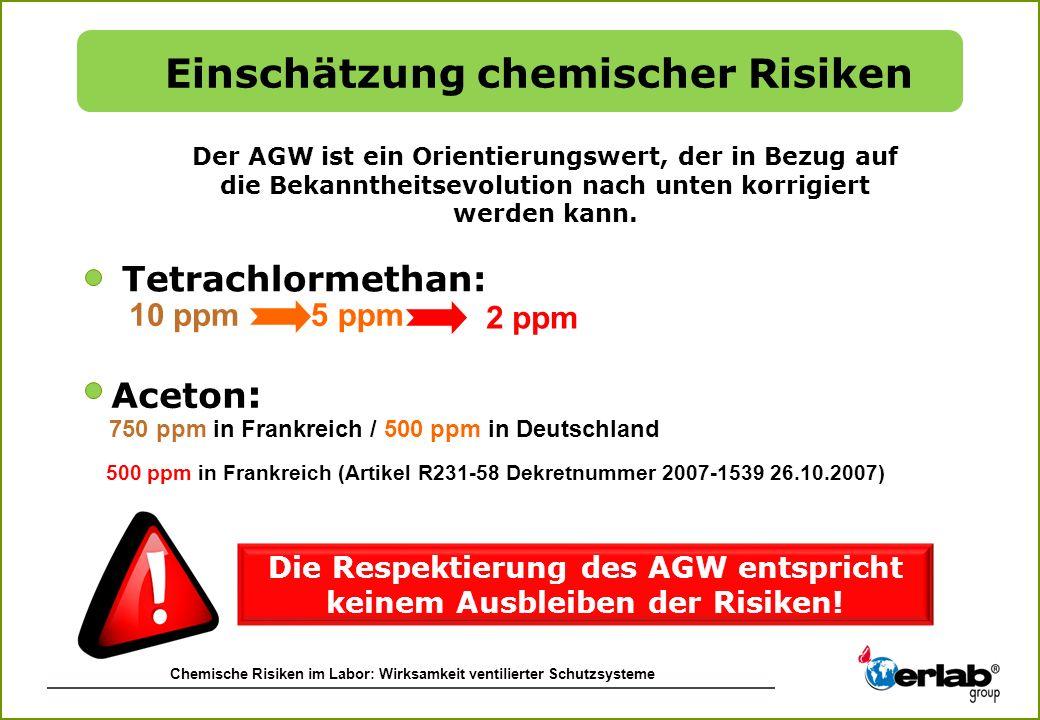 Chemische Risiken im Labor: Wirksamkeit ventilierter Schutzsysteme Tetrachlormethan: Der AGW ist ein Orientierungswert, der in Bezug auf die Bekannthe