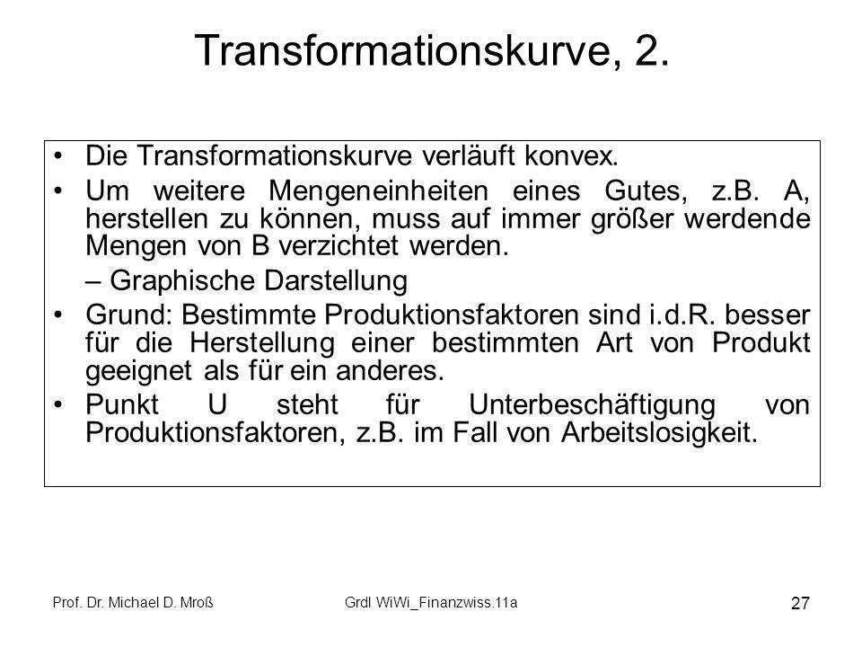 Prof.Dr. Michael D. MroßGrdl WiWi_Finanzwiss.11a 27 Transformationskurve, 2.