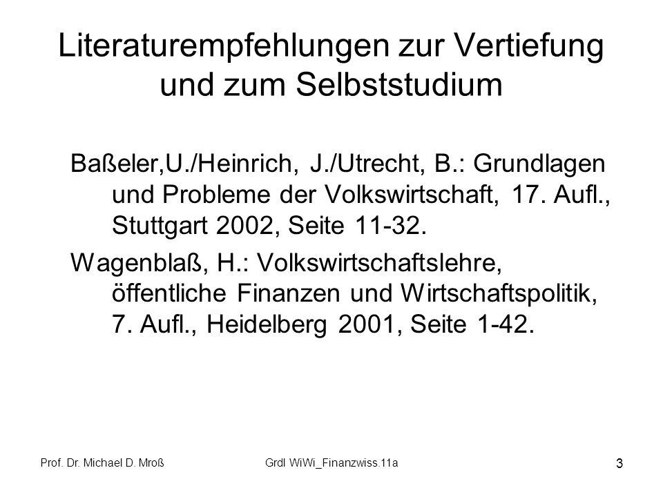 Prof. Dr. Michael D. MroßGrdl WiWi_Finanzwiss.11a 4 Grundfragen des Wirtschaftens