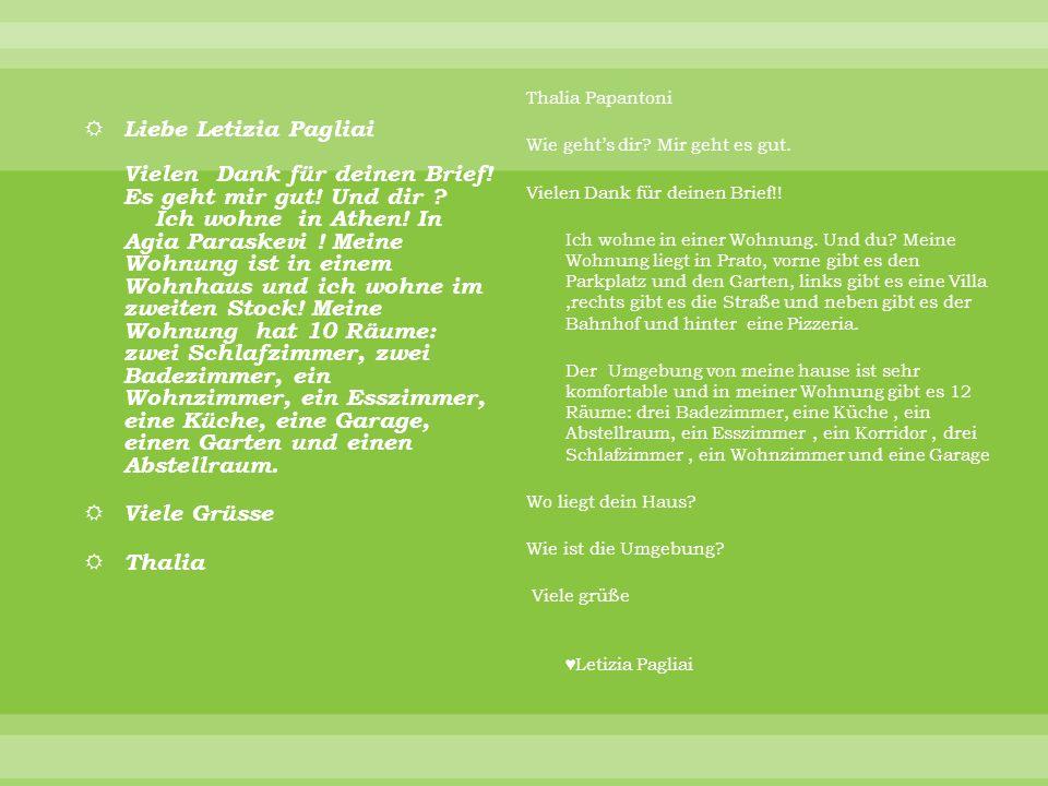 Liebe Letizia Pagliai Vielen Dank für deinen Brief.