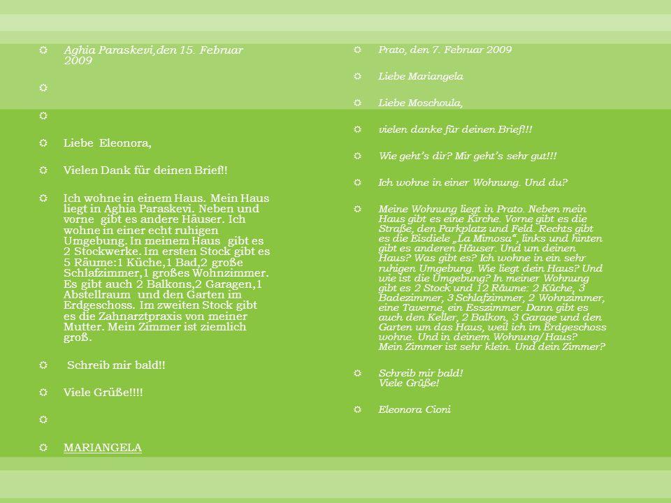 Aghia Paraskevi,den 15.Februar 2009 Liebe Eleonora, Vielen Dank für deinen Brief!.