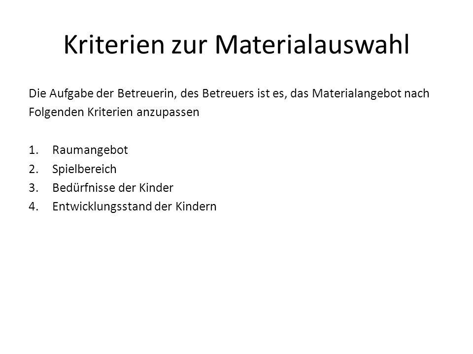 Kriterien zur Materialauswahl Die Aufgabe der Betreuerin, des Betreuers ist es, das Materialangebot nach Folgenden Kriterien anzupassen 1.Raumangebot 2.Spielbereich 3.Bedürfnisse der Kinder 4.Entwicklungsstand der Kindern
