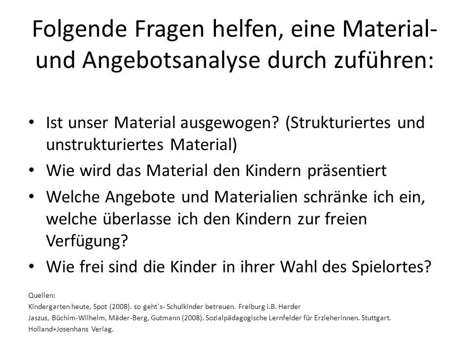 Folgende Fragen helfen, eine Material- und Angebotsanalyse durch zuführen: Ist unser Material ausgewogen? (Strukturiertes und unstrukturiertes Materia
