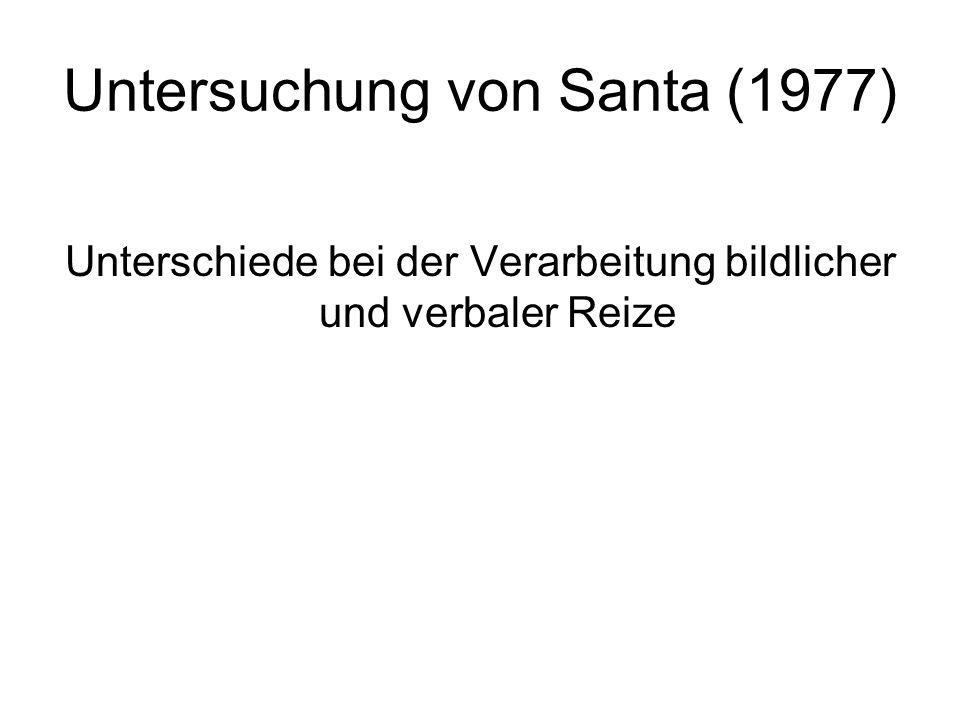 Untersuchung von Santa (1977) Unterschiede bei der Verarbeitung bildlicher und verbaler Reize