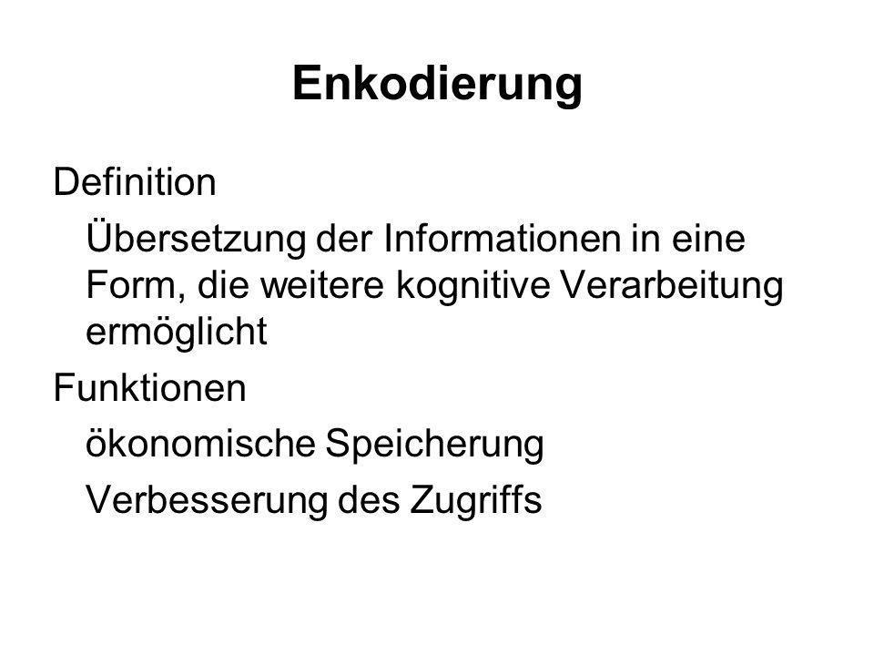 Enkodierung Definition Übersetzung der Informationen in eine Form, die weitere kognitive Verarbeitung ermöglicht Funktionen ökonomische Speicherung Ve