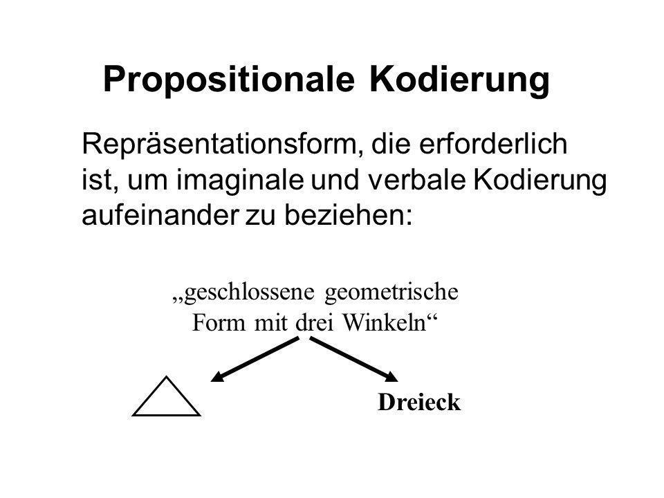 Propositionale Kodierung Repräsentationsform, die erforderlich ist, um imaginale und verbale Kodierung aufeinander zu beziehen: Dreieck geschlossene g