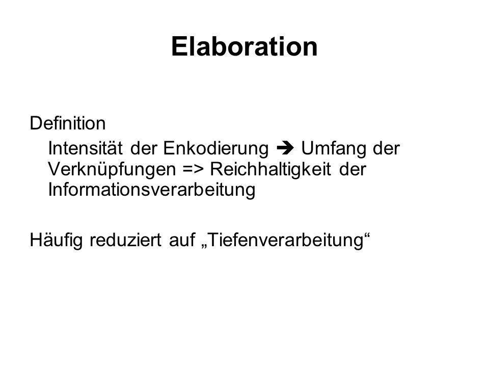 Elaboration Definition Intensität der Enkodierung Umfang der Verknüpfungen => Reichhaltigkeit der Informationsverarbeitung Häufig reduziert auf Tiefen