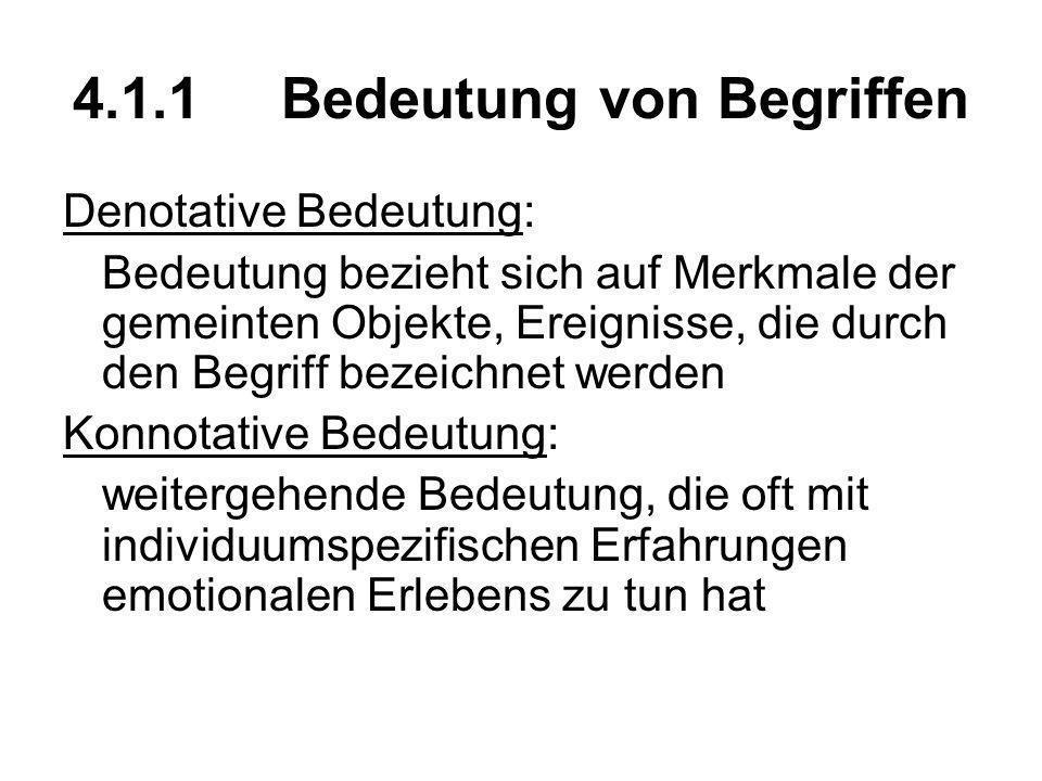4.1.1Bedeutung von Begriffen Denotative Bedeutung: Bedeutung bezieht sich auf Merkmale der gemeinten Objekte, Ereignisse, die durch den Begriff bezeic