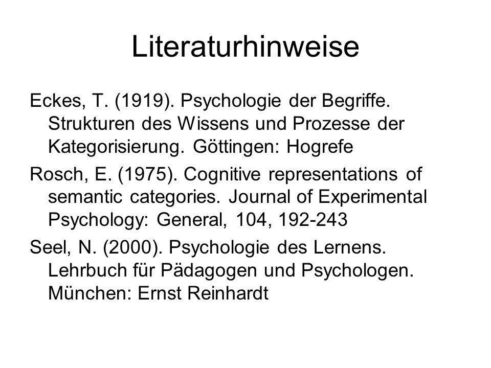 Literaturhinweise Eckes, T. (1919). Psychologie der Begriffe. Strukturen des Wissens und Prozesse der Kategorisierung. Göttingen: Hogrefe Rosch, E. (1