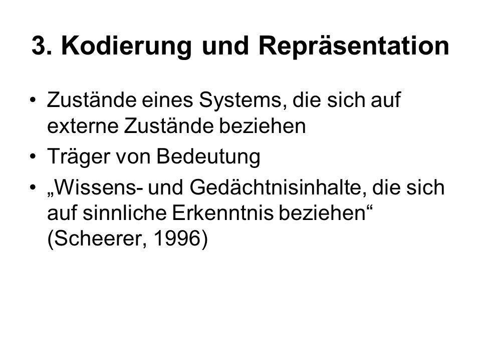 3. Kodierung und Repräsentation Zustände eines Systems, die sich auf externe Zustände beziehen Träger von Bedeutung Wissens- und Gedächtnisinhalte, di
