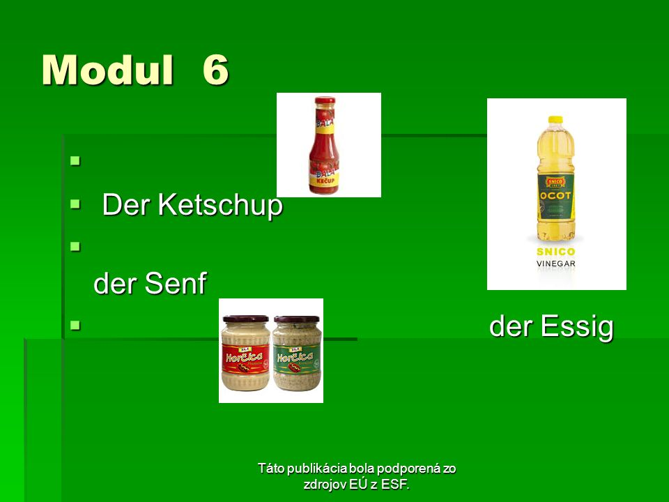 Táto publikácia bola podporená zo zdrojov EÚ z ESF. Modul 6 Der Ketschup Der Ketschup der Senf der Senf der Essig der Essig