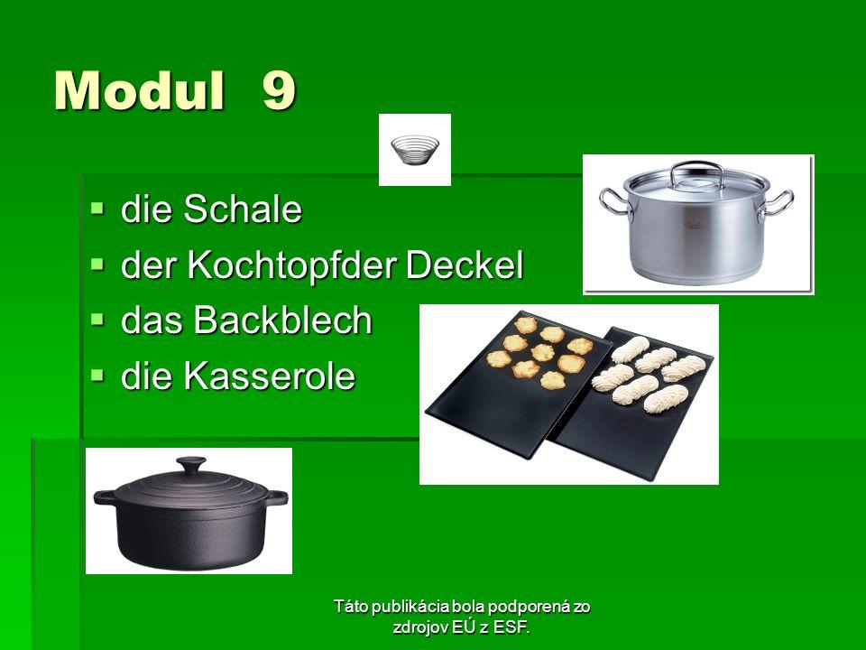 Táto publikácia bola podporená zo zdrojov EÚ z ESF. Modul 9 die Schale die Schale der Kochtopfder Deckel der Kochtopfder Deckel das Backblech das Back