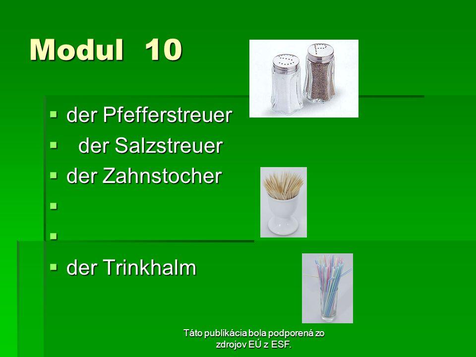 Táto publikácia bola podporená zo zdrojov EÚ z ESF. Modul 10 der Pfefferstreuer der Pfefferstreuer der Salzstreuer der Salzstreuer der Zahnstocher der