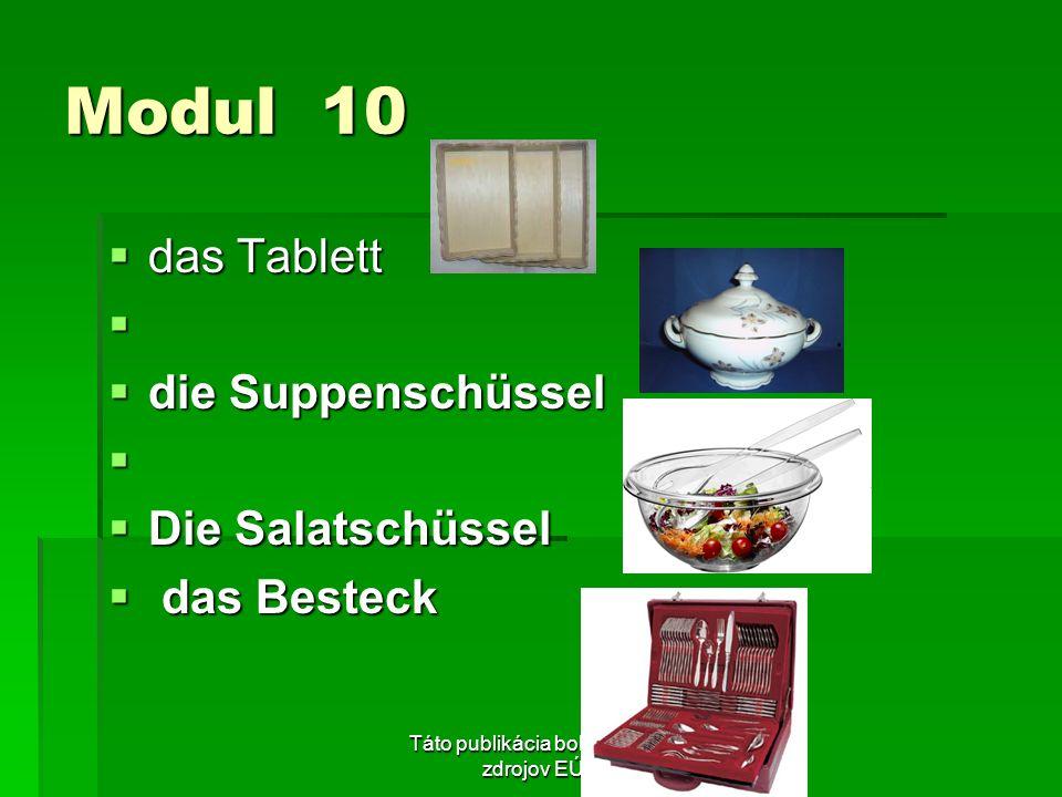 Táto publikácia bola podporená zo zdrojov EÚ z ESF. Modul 10 das Tablett das Tablett die Suppenschüssel die Suppenschüssel Die Salatschüssel Die Salat