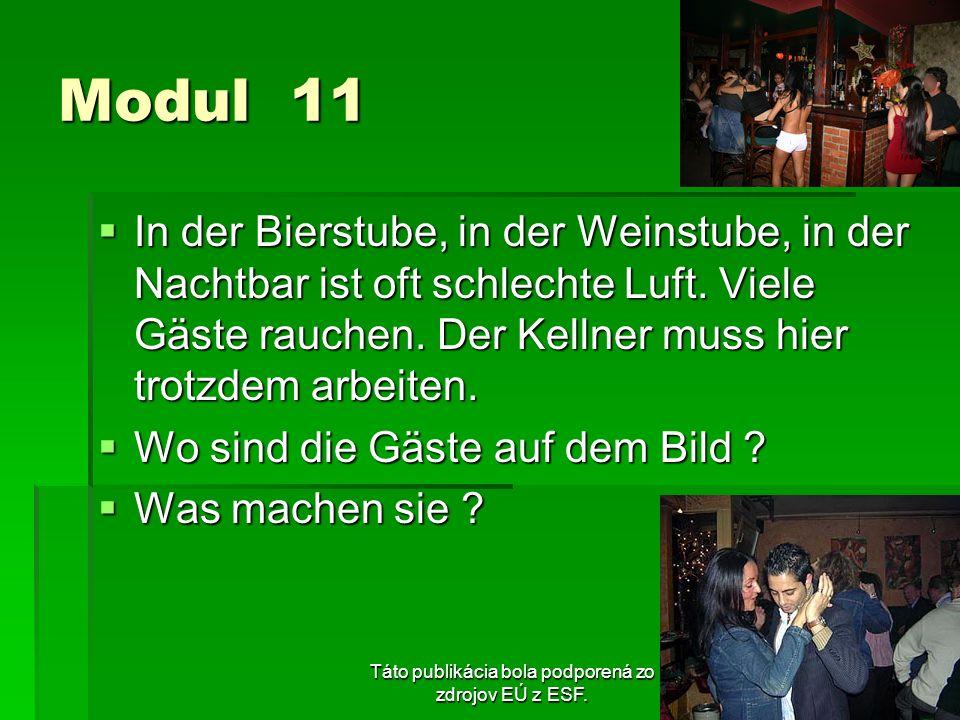Táto publikácia bola podporená zo zdrojov EÚ z ESF. Modul 11 In der Bierstube, in der Weinstube, in der Nachtbar ist oft schlechte Luft. Viele Gäste r