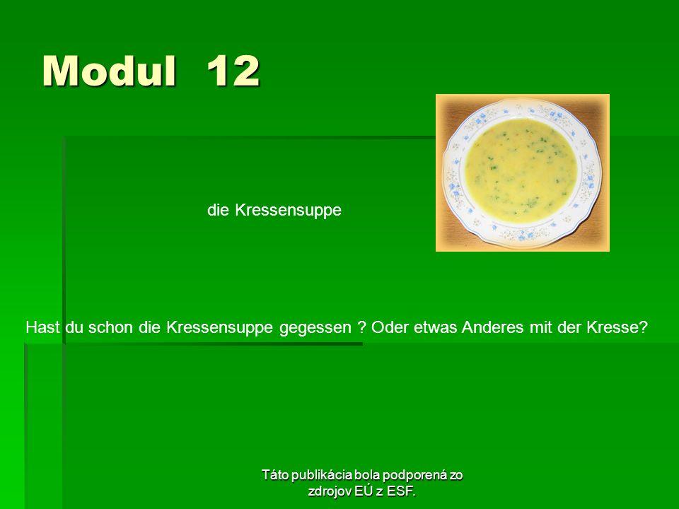 Táto publikácia bola podporená zo zdrojov EÚ z ESF. Modul 12 die Kressensuppe Hast du schon die Kressensuppe gegessen ? Oder etwas Anderes mit der Kre