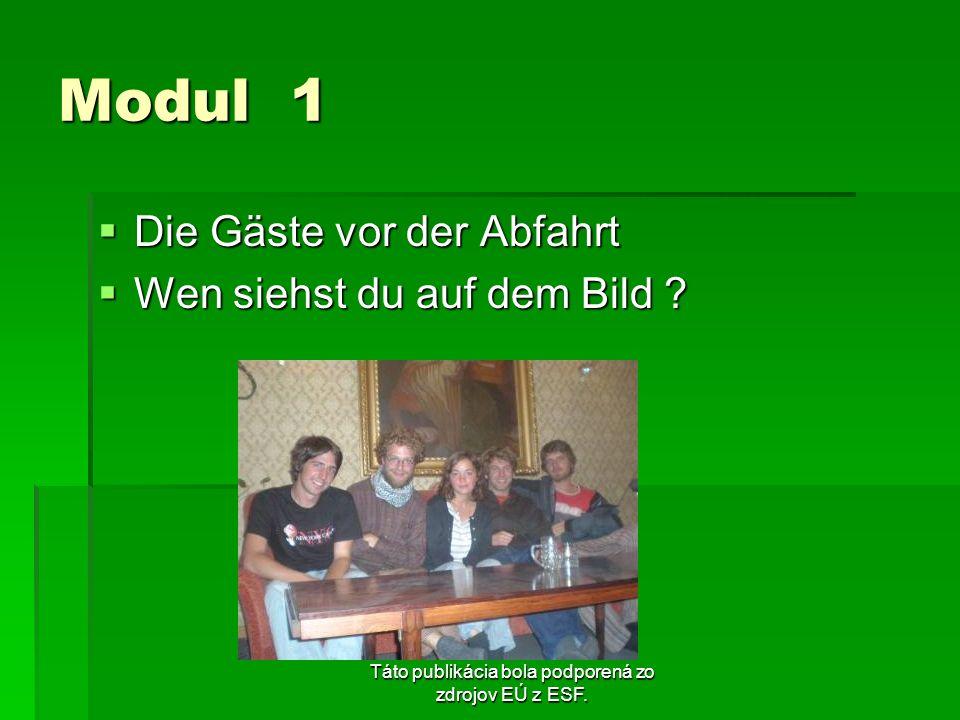 Táto publikácia bola podporená zo zdrojov EÚ z ESF. Modul 1 Die Gäste vor der Abfahrt Die Gäste vor der Abfahrt Wen siehst du auf dem Bild ? Wen siehs