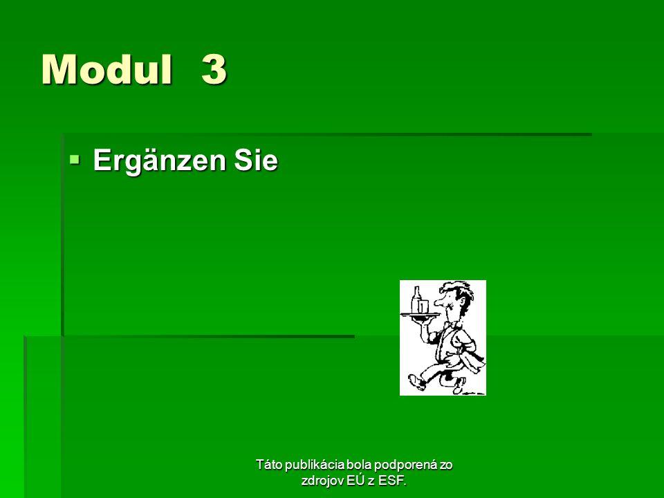 Táto publikácia bola podporená zo zdrojov EÚ z ESF. Modul 3 Ergänzen Sie Ergänzen Sie