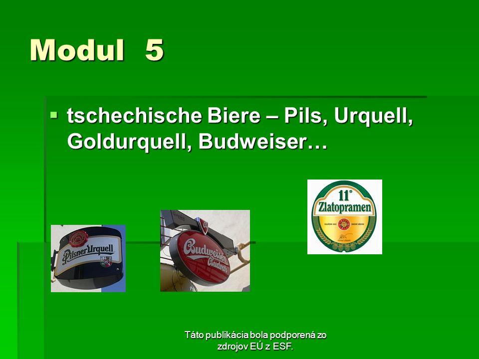 Táto publikácia bola podporená zo zdrojov EÚ z ESF. Modul 5 tschechische Biere – Pils, Urquell, Goldurquell, Budweiser… tschechische Biere – Pils, Urq