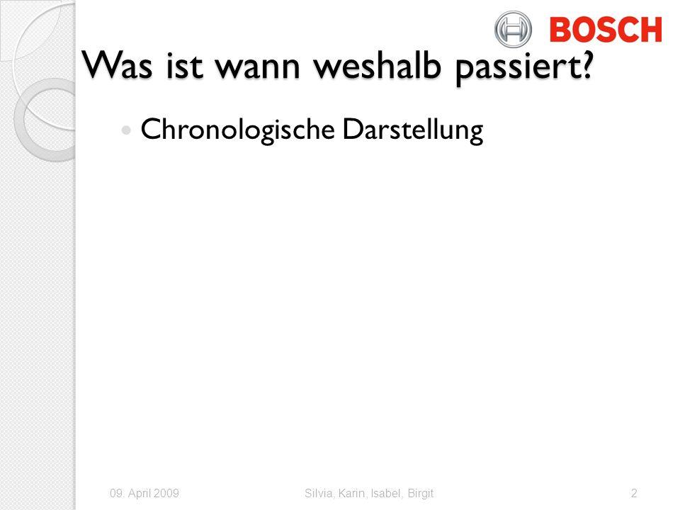 Chronologie Kennzahlen 2008: Bosch erhöht Ausgaben für F&E um 8% auf 3.9 Mio Mai 2008: Zuversicht, 5% Umsatzplus zu erreichen Sommer: Uebernahme von ersol Solar Energy AG (Erfurth) 12.