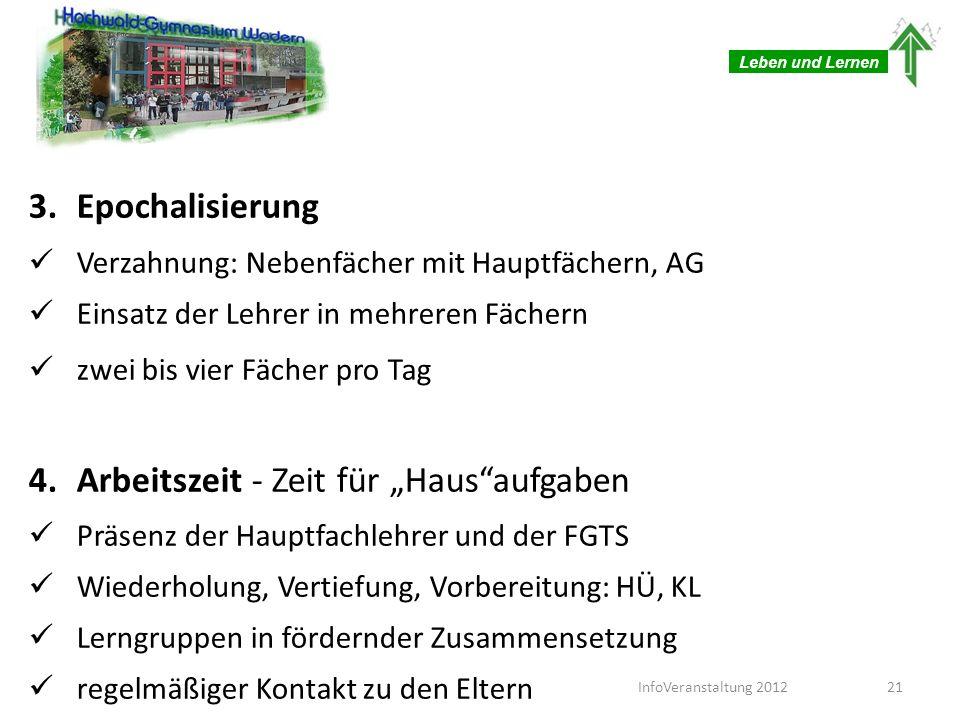 Leben und Lernen 3.Epochalisierung Verzahnung: Nebenfächer mit Hauptfächern, AG Einsatz der Lehrer in mehreren Fächern zwei bis vier Fächer pro Tag 4.