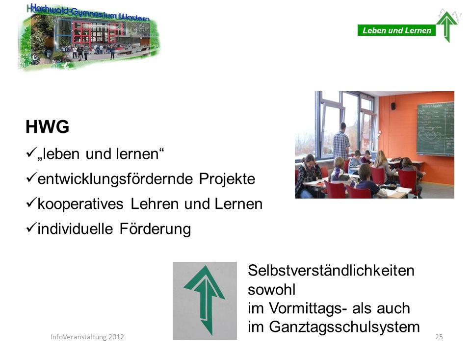 Leben und Lernen HWG leben und lernen entwicklungsfördernde Projekte kooperatives Lehren und Lernen individuelle Förderung Selbstverständlichkeiten so