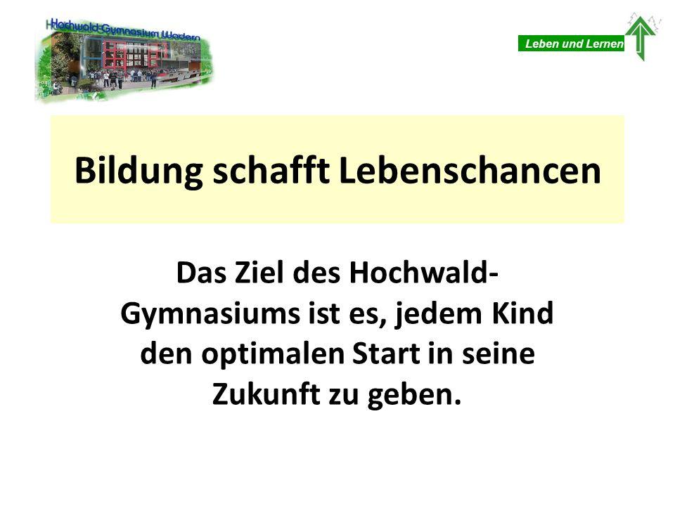 Bildung schafft Lebenschancen Das Ziel des Hochwald- Gymnasiums ist es, jedem Kind den optimalen Start in seine Zukunft zu geben. Leben und Lernen