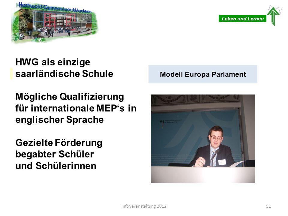 Leben und Lernen HWG als einzige saarländische Schule Mögliche Qualifizierung für internationale MEPs in englischer Sprache Gezielte Förderung begabte