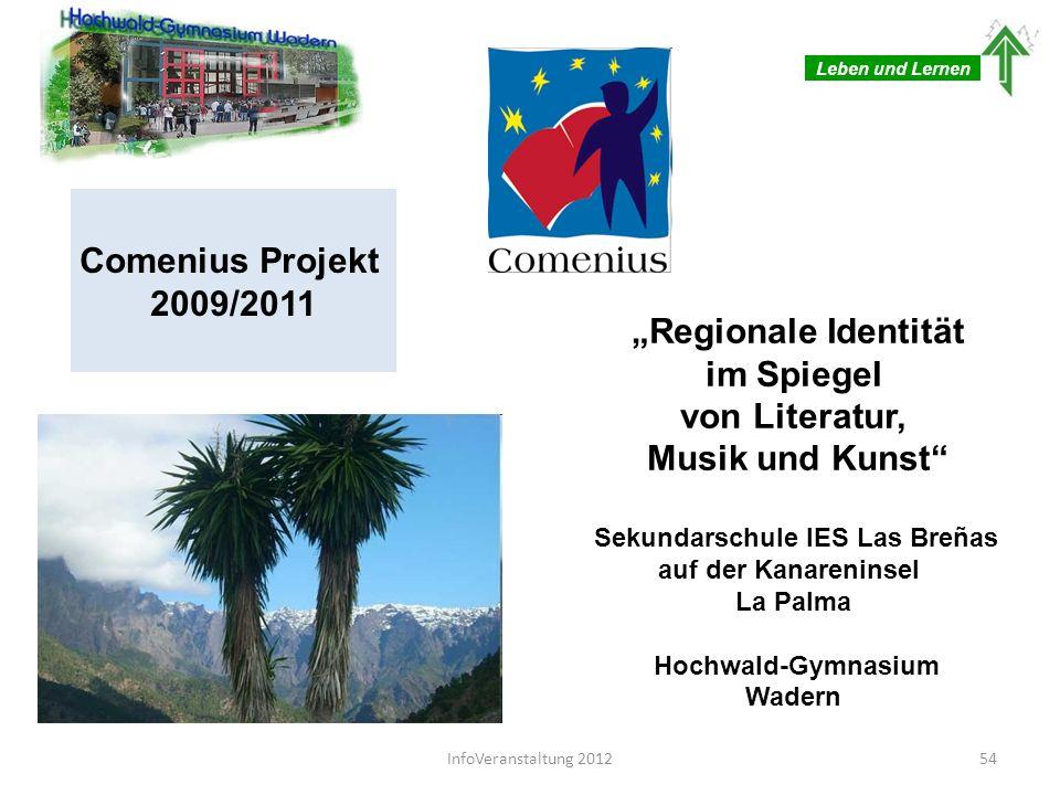 Leben und Lernen Comenius Projekt 2009/2011 Regionale Identität im Spiegel von Literatur, Musik und Kunst Sekundarschule IES Las Breñas auf der Kanare