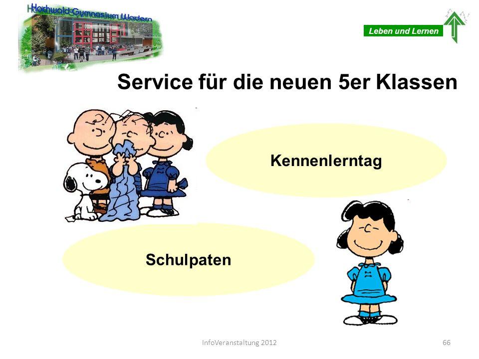 Leben und Lernen Service für die neuen 5er Klassen Kennenlerntag Schulpaten 66InfoVeranstaltung 2012