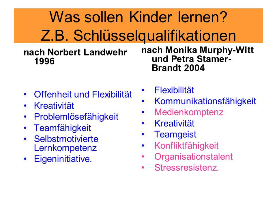 Was sollen Kinder lernen? Z.B. Schlüsselqualifikationen nach Monika Murphy-Witt und Petra Stamer- Brandt 2004 Flexibilität Kommunikationsfähigkeit Med
