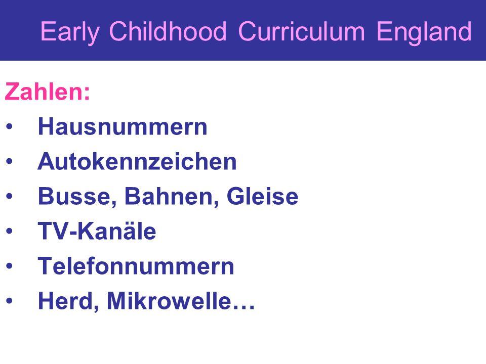 Early Childhood Curriculum England Zahlen: Hausnummern Autokennzeichen Busse, Bahnen, Gleise TV-Kanäle Telefonnummern Herd, Mikrowelle…