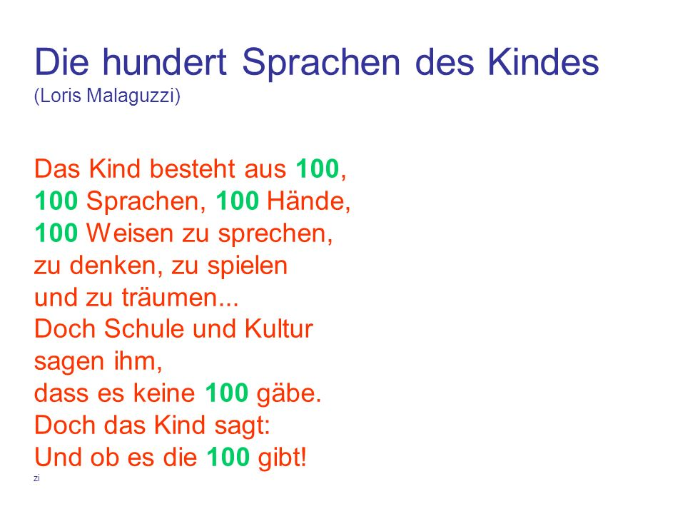 Die hundert Sprachen des Kindes (Loris Malaguzzi) Das Kind besteht aus 100, 100 Sprachen, 100 Hände, 100 Weisen zu sprechen, zu denken, zu spielen und