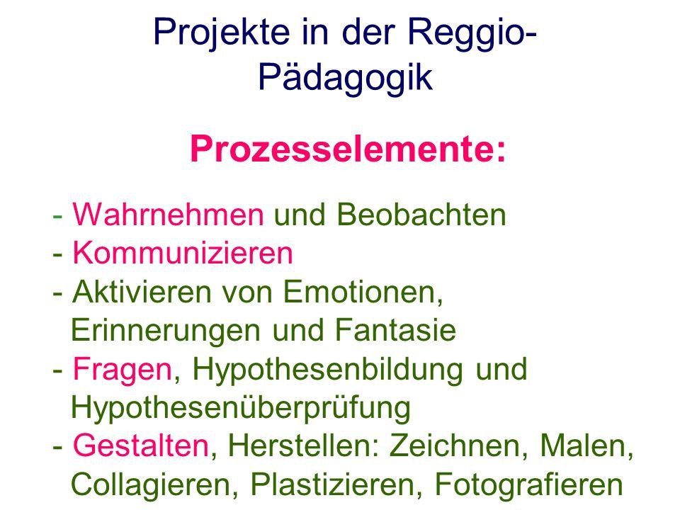 Projekte in der Reggio- Pädagogik Prozesselemente: - Wahrnehmen und Beobachten - Kommunizieren - Aktivieren von Emotionen, Erinnerungen und Fantasie -