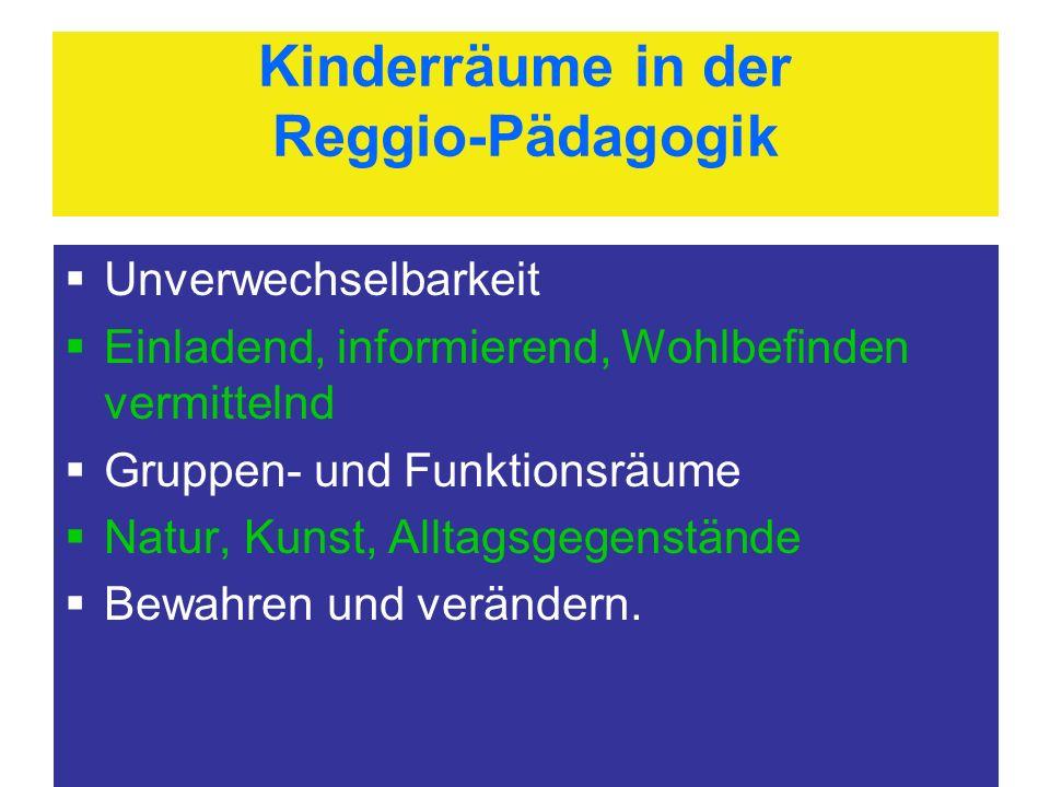 Kinderräume in der Reggio-Pädagogik Unverwechselbarkeit Einladend, informierend, Wohlbefinden vermittelnd Gruppen- und Funktionsräume Natur, Kunst, Al