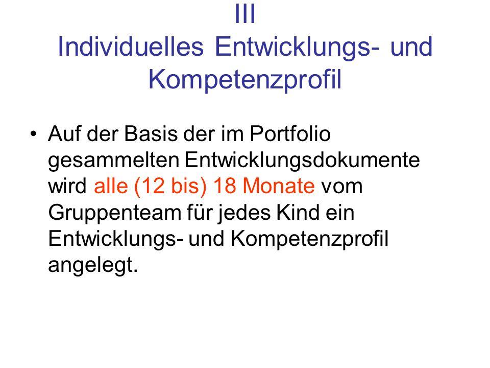 III Individuelles Entwicklungs- und Kompetenzprofil Auf der Basis der im Portfolio gesammelten Entwicklungsdokumente wird alle (12 bis) 18 Monate vom