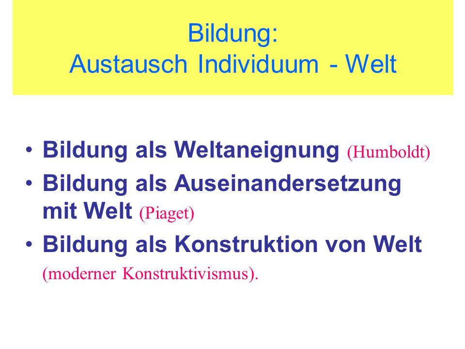 Bildung: Austausch Individuum - Welt Bildung als Weltaneignung (Humboldt) Bildung als Auseinandersetzung mit Welt (Piaget) Bildung als Konstruktion vo