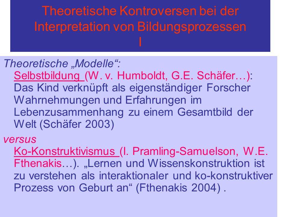 Theoretische Kontroversen bei der Interpretation von Bildungsprozessen I Theoretische Modelle: Selbstbildung (W. v. Humboldt, G.E. Schäfer…): Das Kind