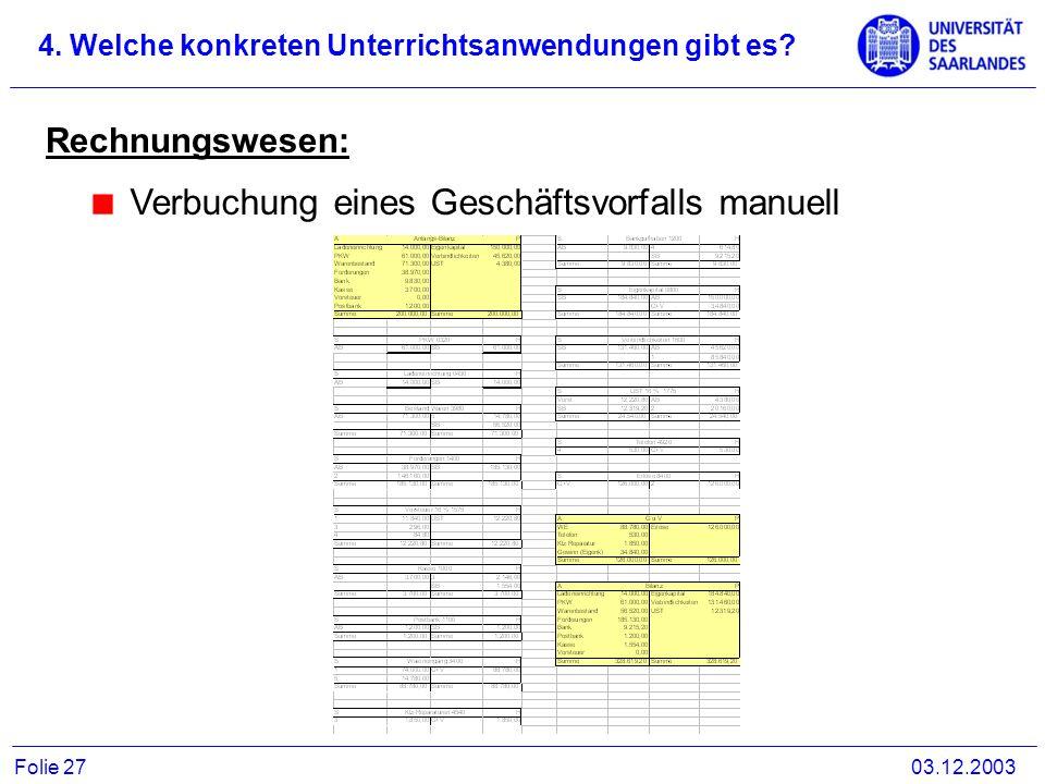 Rechnungswesen: Verbuchung eines Geschäftsvorfalls manuell 4. Welche konkreten Unterrichtsanwendungen gibt es? 03.12.2003Folie 27