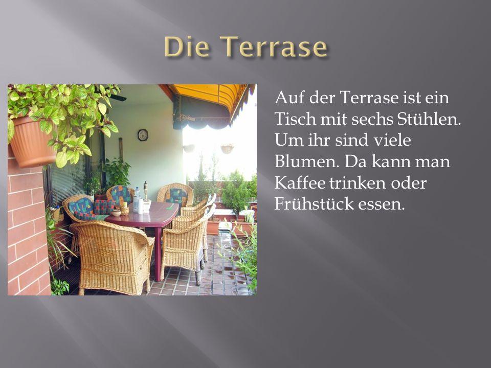 Auf der Terrase ist ein Tisch mit sechs Stühlen. Um ihr sind viele Blumen. Da kann man Kaffee trinken oder Frühstück essen.