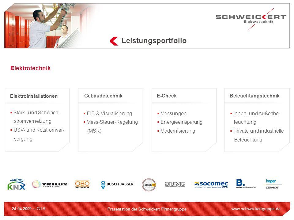 www.schweickertgruppe.de Präsentation der Schweickert Firmengruppe 24.04.2009 – G1.5 Leistungsportfolio Elektrotechnik Elektroinstallationen Stark- un