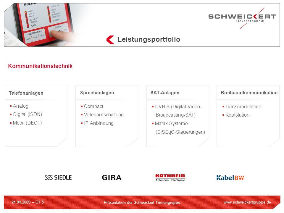 www.schweickertgruppe.de Präsentation der Schweickert Firmengruppe 24.04.2009 – G1.5 Leistungsportfolio Kommunikationstechnik Telefonanlagen Analog Di