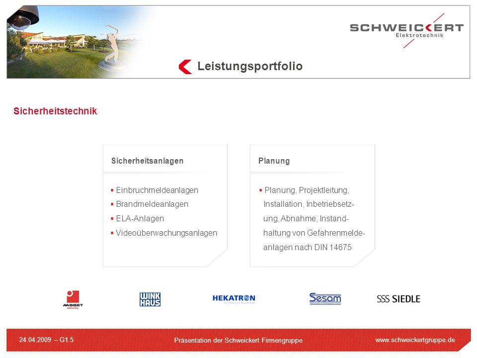 www.schweickertgruppe.de Präsentation der Schweickert Firmengruppe 24.04.2009 – G1.5 Sicherheitstechnik Einbruchmeldeanlagen Brandmeldeanlagen ELA-Anl