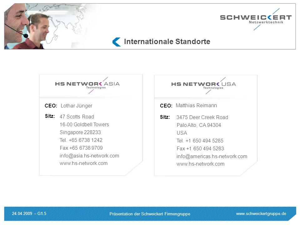 www.schweickertgruppe.de Präsentation der Schweickert Firmengruppe 24.04.2009 – G1.5 Sitz: CEO: 3475 Deer Creek Road Palo Alto, CA 94304 USA Tel. +1 6