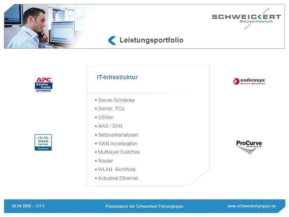 www.schweickertgruppe.de Präsentation der Schweickert Firmengruppe 24.04.2009 – G1.5 Leistungsportfolio Server-Schränke Server, PCs USVen NAS / SAN Ne